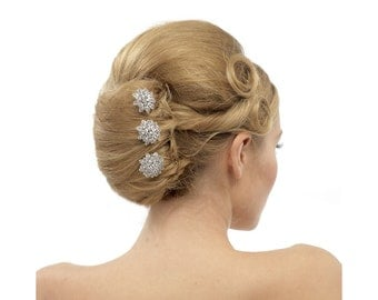 3 crystal hair pins, trio hair pins, bridal 3 hair pins, bridesmaid hair pins, silver hair pins, 3 silver hair pins, triple hair pins,