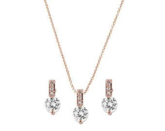 Rose gold necklace earring set, rose gold jewellery set, rose gold jewelry, rose gold chain and earrings, bridal rose gold accessories