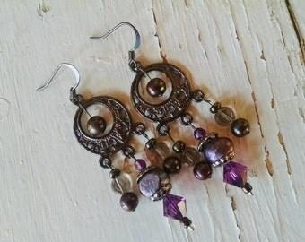 Pearl chandelier earrings, Gunmetal silver chandelier earrings with purple pearl and crystal
