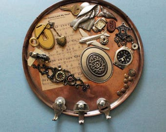 Steampunk key holder, Father's Day gift, key hooks, copper key storage, copper wall art, copper wall decor ,mixed media, steampunk wall art
