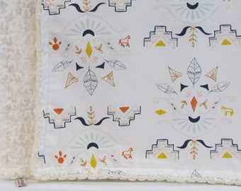 """Minky baby blanket-30"""" x 36""""- Wanderer feather and horse baby blanket- Aztec minky baby blanket- Art galler Wanderer baby minky blanket-"""