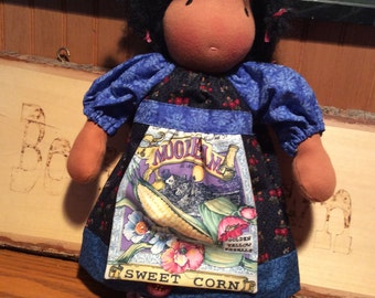 Sweet Corn, farmer girl, Waldorf doll clothes, 2 pc
