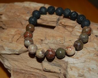 Mens Bracelet Ocean Jasper Lava Bead Bracelet for Men Grounding Jewelry for Men Gift Ideas for Him Meditation