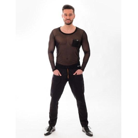 Black long sleeve tshirt- Black transparent top - Sheer Tulle - Black Mesh long sleeves- Mixedesigns lab Mens Fashion mPTT8b1k