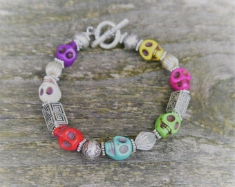 Day of the Dead Mexican Howlite Fiesta Colors Skull Gemstone and Silver Bracelet