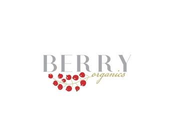 Fruit Logo design, customizable Pre-made OOAK modern logo design -  red, grey