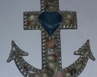 Sailor Seashell Valentine Sewing Pincushion Antique Primitive Folk Art Anchor RARE AAFA