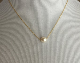 Floating Single Pearl gold necklace, wedding jewelry, bridesmaid jewelry, pearl necklace, bridal jewelry, swarovski pearls