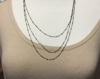 Gunmetal chain multi strand necklace, beautiful one of a kind fancy gunmetal chain