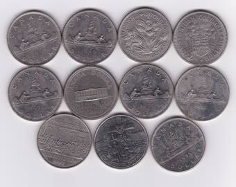 11 Different Canada Silver Dollars, Five Commemoratives 1968-1985