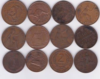 Twelve Large Copper Coins Pennies 1867//1966