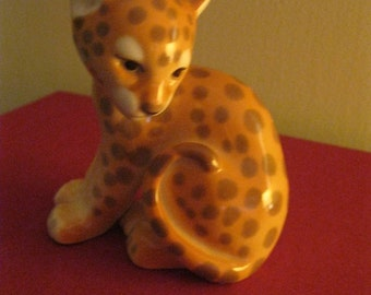 Very rare Beautiful Russian Porcelain - Baby Cub JAGUAR COUGAR Figurine  Great  quality. Lomonosov Marked