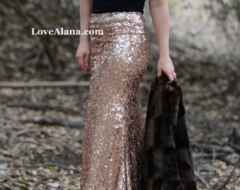 Pink Champagne Maxi Skirt - Stretchy, gorgeous high quality sequins - Long sequined skirt - S, M, L, XL