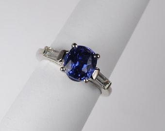 Classic 2.69 Sapphire and Diamond Ring in Platinum