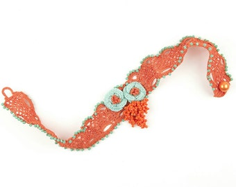 Necklace-Bohemian Handmade Crystal Beadwork Crochet Mint Flower Bouquet Orange Choker Necklace, Crochet Floral Choker, Fiber Jewelry
