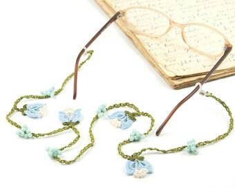 Eyeglass Accessory- Handmade Crochet Accessories, Blue Tulip Flower Eyeglass Holder Accessory, Crochet Eyeglasses Strap, Bohemian Jewelry