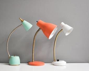 Vintage Off-White Metal Goose Neck Desk Lamp - Task Lamp