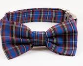 Blue Plaid School Boy Bow Tie Dog Collar, Holiday Bowtie Dog Collar, Fall, Scottish, Flannel, Christmas