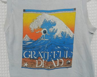 vintage Grateful Dead T Shirt distressed 80s RARE surfing eyeball sleeveless festival tee thin 50/50 concert tour eighties wave rider head