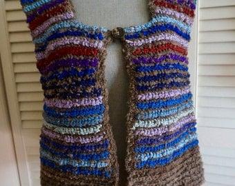 Handmade Scandinavian Vest S M L Crochet Knit Striped Mod Folk Boho Hippie Gypsy Bohemian 70s OOAK Festival Tank Art Sweater Tan Purple Blue