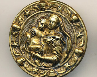 Antique Button  Madonna and Child ca. 1890's