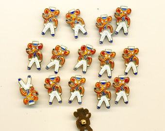Vintage Collectable Enamel Elephant Buttons - Lot of 15