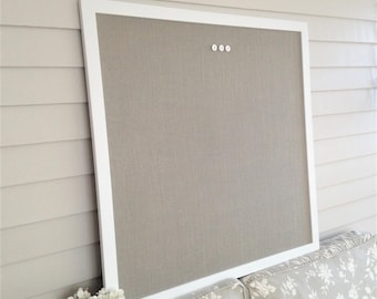 Supersized HUGE Magnetic Bulletin Board with our Handmade Wood Frame in Superwhite 36 x 36 Memo Message Board with Ash Gray Burlap Fabric