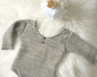 Newborn Unisex Neutral Romper Set, sweater knit, photography prop, bany girl, baby boy, knit, headband, button, ready to ship