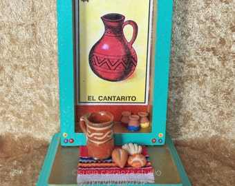 El Cantarito Nicho. Loteria inspired art, Mexican folk art.