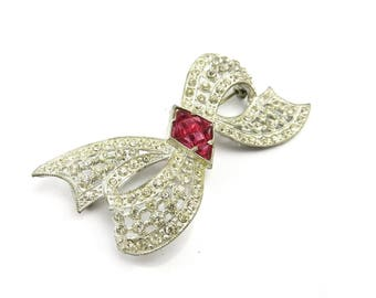 Rhinestone Art Deco Brooch Ruby Red Glass Bride Jewelry 1920s BoBows Antique Wedding Jewelry