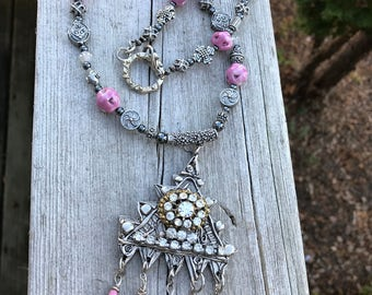 ARTISIAN repurposed Vintage Tribal Pewter & Cermaic/Glass  beaded Necklace and Pendant .Pink and black Aztec Wearable Art . Baroque Princess