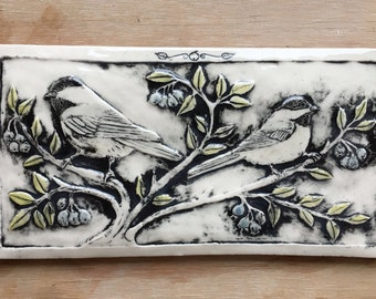 Chickadees with blueberries porcelain tile for wall hanging or installation