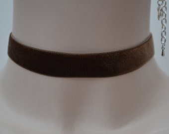 Classic Plain CHOCOLATE BROWN Velvet 16mm Ribbon Choker Necklace -sn... custom made to fit :)