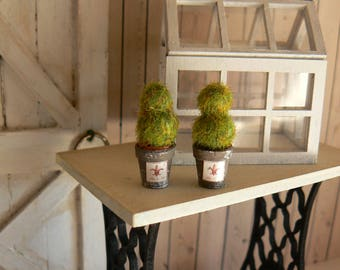 Two Topiary Flower Pots - Doll House - Miniatures