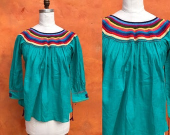 Vintage turquoise embroidered Ethnic Peasant Tunic Blouse Shirt Top. Gypsy Ethnic Mexican Boho coachella festival Bohemian Hippie.