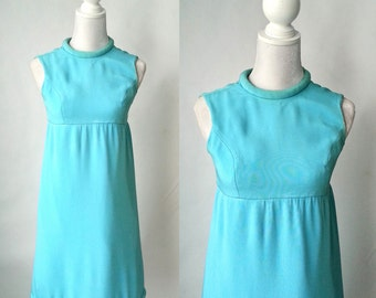 Vintage 1960s Light Blue Mod Dress, Small