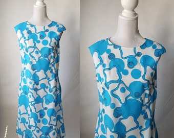 Vintage 1960s Blue and White Summer Dress by Flutterbye