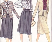 "CLEARANCE Jacket Skirt and Blouse Womens 80s Vintage Sewing Pattern Vogue 7830 Bust 34"" Size 12"