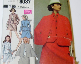 1960s Skirt and Cape Pattern, 60s Skirt, Cape and Jacket, Simplicity Designer Fashion 8037