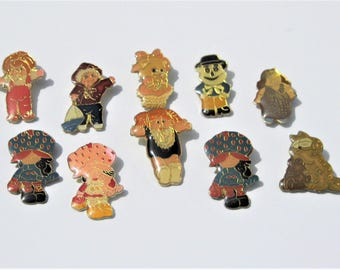 Vintage Enamel Pins: 10 Vintage Pins, Strawberry Shortcake, Cabbage Patch, Care Bear, and More