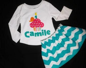 2 piece Birthday shirt hot pink polka dot cupcake, orange bird, number candle applique personalized name, turquoise blue chevron skirt