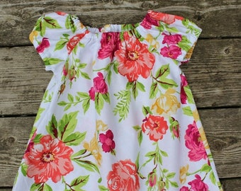 Girl's Infants Toddlers Vintage Inspired Shabby Chic Floral Peasant Dress
