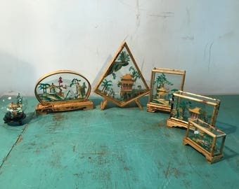 Vintage 70s set of 6 pieces small cork diorama, dead stock inventory, Pagoda Scene in Bamboo & Glass Case,Asian  Collectible Art Object