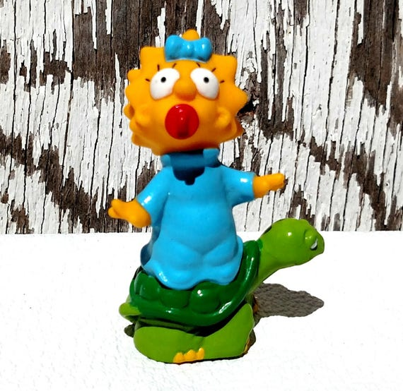 Maggie Simpson on Turtle - Vintage 1990 Burger King Toy