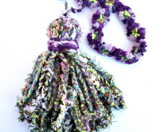 Giant Over Sized Braided Yarn Tassel in Nubbly Purple and Green with Rhinestones