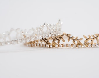 vintage gold or bright silver petite crown headband, wedding crown - HP17608