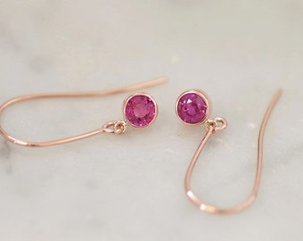 Natural Pink Sapphire Dangle Earrings in Rose Gold, Handmade September Birthstone Jewelry Gift for Her