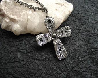 Vintage Tortolani Pendant Necklace Modernist Cross Silver Tone