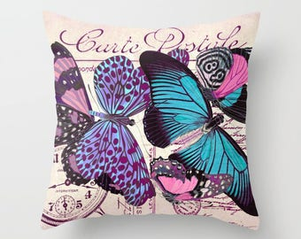 Vintage Postcard BUTTERFLY Throw Pillow, Indoor, Outdoor, Modern Bedding, Romantic, Antique French,Turquoise Blue, Pink, Purple, Violet