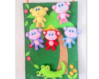Monkeys and Alligator Nursery Rhymes Song, Pretend Play Board, Kids Toy Felt Animals